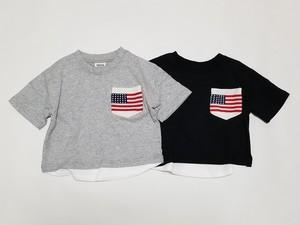 星条旗ニットポケット付き 重ね着風ビッグシルエットTシャツ 11402