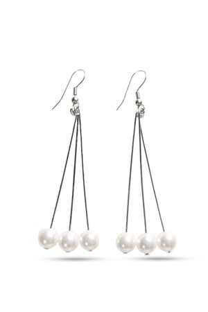 Triple Swarovski Pearl Earrings | SILVER