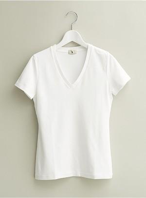 レディース Vネック Tshirt(White)