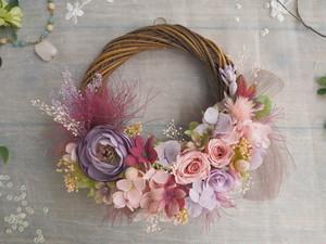 Lune Bonheur<Cassis nature>*ハーフムーンリース*プリザーブドフラワー*春*リース*お花*ギフト*結婚祝い*記念日*新築祝い