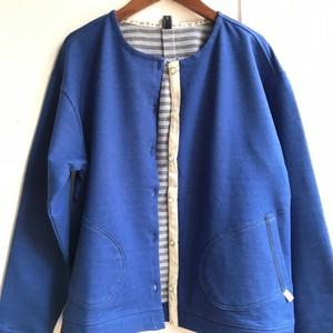 【 NORTHERN TRUCK 】綿コットン ミトンポケット付きカーディガン ブルー【ノーザントラック】