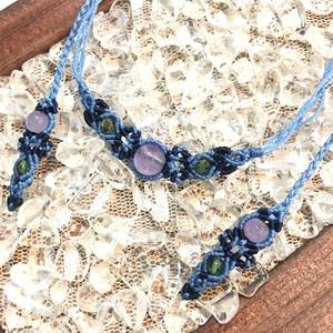 天然石のマクラメ編みネックレス/花瓶(ライトブルー系×アメジスト)