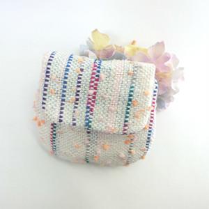 手織りの蓋つきミニポーチ(ホワイト)