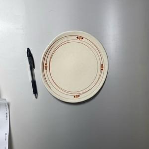 ラインドロップ大皿(赤) [ 22 x 1.5cm ] 【初秋の赤絵食卓】
