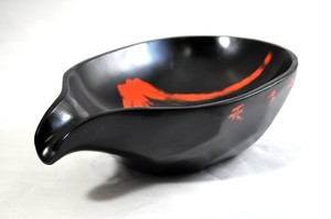 T26-15 佐藤禎三作 木8.0片口鉢 黒 富士(天下一峰)