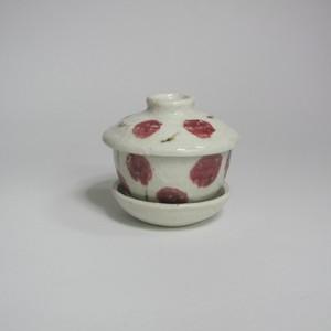 さくらんぼ柄の食器(蓋付碗)  陶器(信楽焼)製【SO-4826】