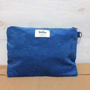 【受注生産】Corduroy clutch bag - Blue ※発送はお支払後2~3週間程度