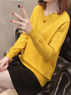 【tops】Solid color long sleeve V neck sweater