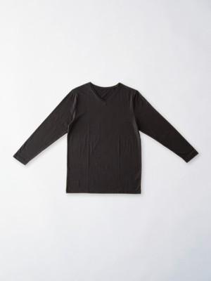 【パパ】シルクコットン Vネック長袖Tシャツ
