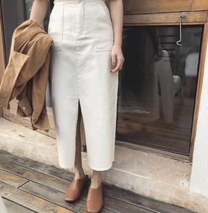 【送無】*予* 3color:Stretch Pencil Baker Skirt ハイウエスト ベイカー スカート ペンシルスカート 送料無料