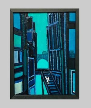 OIL COLOUR | あおの橋 | bridge | 油彩画