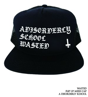 a disorderly school / flipup mesh cap<black>