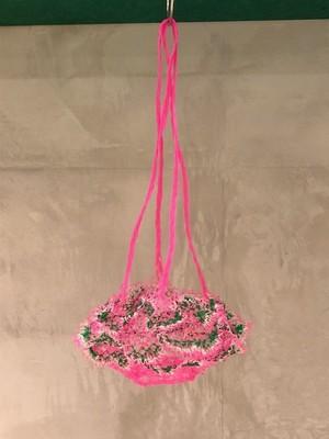 網の店おおやま / 網ポシェット ピンクひも ピンク×緑×白 ①