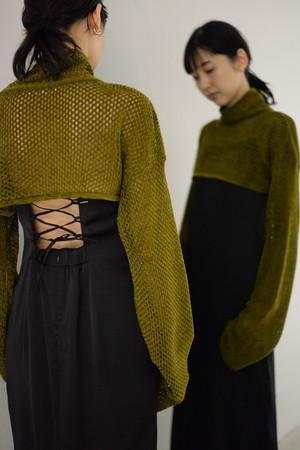 【予約商品】ROOM211 / Mole mesh knit Short TOP(olive heather)