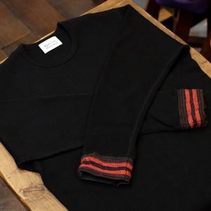 KUON(クオン) リブ裂き織り ワッフルサーマルカットソー(ロンT) ブラック