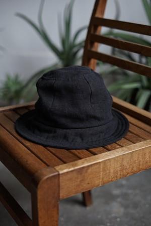 JAN JAN VAN ESSCHE - HAT#7 (BLACK BRUSHED LINEN CLOTH)