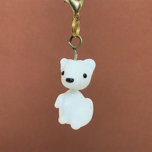 白犬☆動物とんぼ玉チャーム