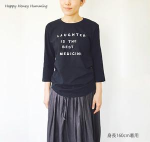 七分袖Tシャツ Laughter ネイビー 送料無料