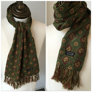 1960s Tootal Scarf made in England Green
