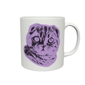2トーンポップアート猫マグカップ【Pop cat スコティッシュ】