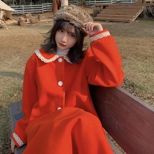 【セットアップ】韓国系ショート丈ラシャ無地コート+Aラインレースハイウエストスカート