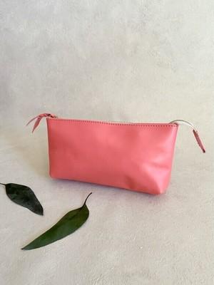 春色小物 ポーチ Lサイズ マチ付き 本革 サーモン ピンク