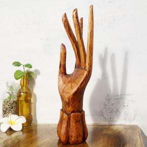 手の置物 木製 リングホルダー
