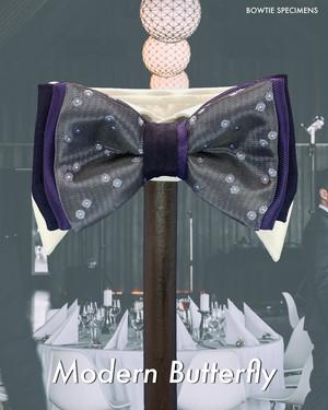 モダン・バタフライ (パープルドット/グラデーション) 作り結び型〈蝶ネクタイ ドット 水玉 紫 パープル〉