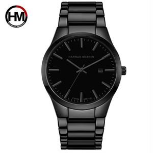 メンズウォッチトップブランドラグジュアリーカレンダーステンレススチールクォーツファッションビジネスフルブラック防水時計RelogioMasculino1756HH