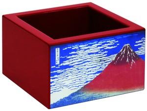 加飾塗枡 赤・絵付き8勺 「赤富士山」