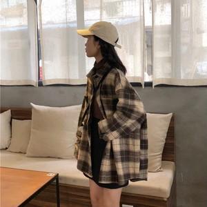 【トップス】シンプルファッションチェック柄シャツ