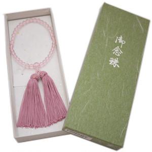 数珠・念珠 女性用 高級絹より房付き(ローズピンク) 【ゆうパケットOK】 [001085]