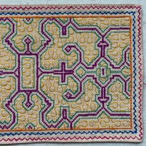 プレイスマット シピボ族の手刺繍  19x30 極繊細シリーズ6 緑と茶 AAA