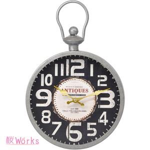 壁掛け時計 ウォールクロック レトロ アンティーク調 銀 おしゃれ 雑貨