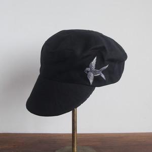ツバメ刺繍の定番キャスケット 黒・グレー系4種