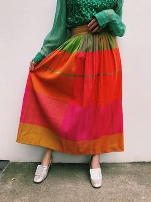 70s pink × orange × green × yellow plaid long skirt ( ヴィンテージ ピンク × オレンジ × グリーン × イエロー ロングスカート