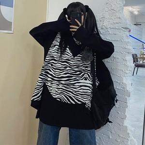 【トップス】カジュアルシンプル無地長袖Tシャツ+縞模様ベスト2点セット34071929
