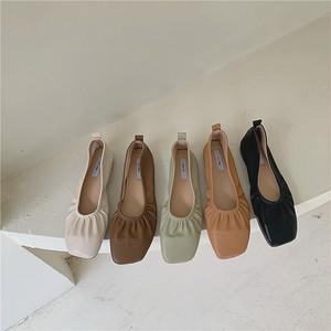 5color : Shirring Ballet Shoes   92052   シャーリング バレエ シューズ パンプス スクエアトゥ