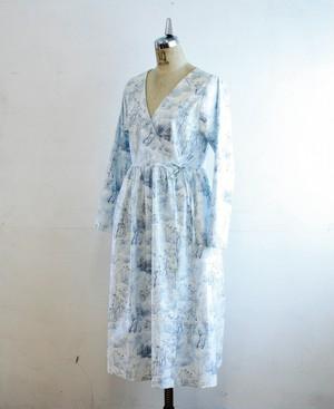 綿 長袖カシュクールワンピース Mサイズ