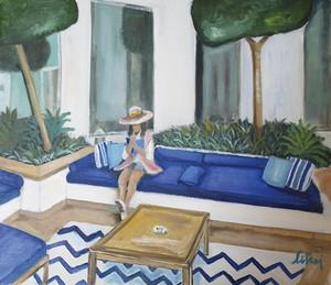 青いソファで読書(フレーム付)F10号