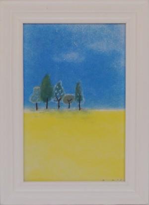 春の野原 パステル画 手描き