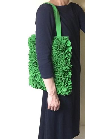 【受注製作】a Linden:tree コットンフラワー トートバッグ #グリーン