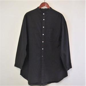 <OSOCU>知多木綿×名古屋黒紋付染 真っ黒な バンドカラー ロングシャツ サイドスリットデザイン