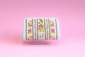 ビーズ刺繍 財布 (#99 白ボーダー)