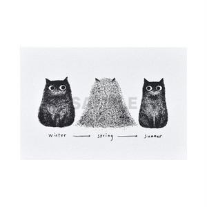 台湾 手刷りポストカード 季節と猫の毛