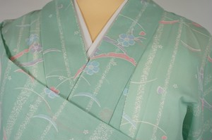 未使用【夏】洗える着物 絽 小紋 芝草文 桜 化繊 黄緑 222