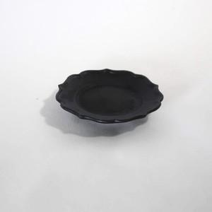 黒釉 稜花リム皿 SS