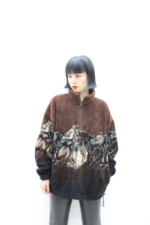Horse pattern fleece jacket / OU11140011
