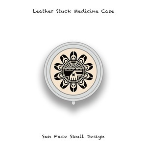 Leather Stuck Medicine Case ( Small Round Shape ) / Sun Face Skull Design 002