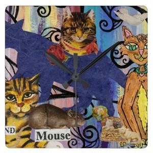 猫およびマウスの時計 スクエア壁時計